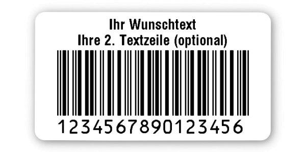 """Produktbild:Universaletiketten Material:Folie weiß Größe:45x25mm Kopfzeile:""""Ihr Wunschtext"""" Barcode:2a5 interleaved Stellenanzahl:16-stellig Ausführung:6 Etiketten pro Nummer Etiketten je Rolle:900"""