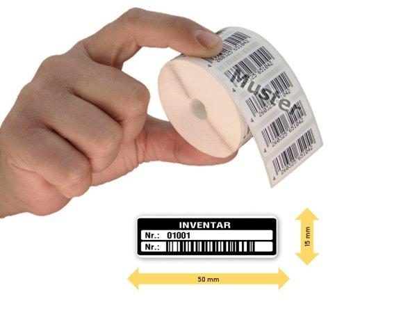Inventaretiketten, 50x15mm, weiß, Nummernkreis 01001-02000, 1.000 Stück