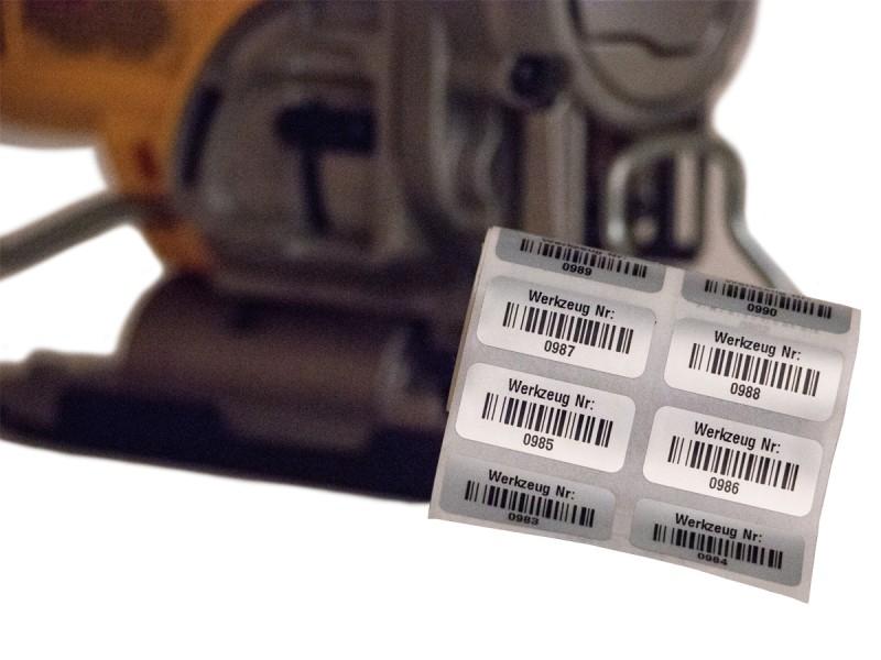 Inventaretiketten für Werkzeuge