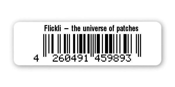 """Sonderetiketten Material:Polyethylen-Folie hochglänzend weiß Größe:50x15mm Kopfzeile:""""Ihr Wunschtext"""" Barcode:EAN 13 Stellenanzahl:13-stellig Ausführung:1 Etikette pro Nummer Menge:1000"""