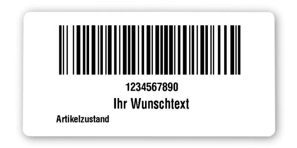 """FNSKU Etiketten Material:Polyethylen-Folie hochglänzend weiß Größe:68x34mm Kopfzeile:""""Ihr Wunschtext"""" Barcode:128B Stellenanzahl:10-stellig Ausführung:1 Etikette pro Nummer Menge:100"""