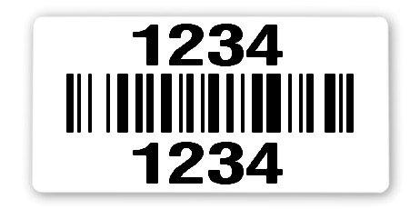 """Sonderetiketten Material:Kabelmarkierer Größe:34x70mm Kopfzeile:""""ohne"""" Barcode:128B Stellenanzahl:4-stellig Ausführung:2 Etiketten pro Nummer Menge:300"""