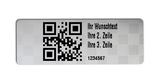 """Universaletiketten Material:Siegeletikett Größe:36x13mm Kopfzeile:""""Ihr Wunschtext"""" Barcode:QR Stellenanzahl:7-stellig Ausführung:4 Etiketten pro Nummer Etiketten je Rolle:1000"""