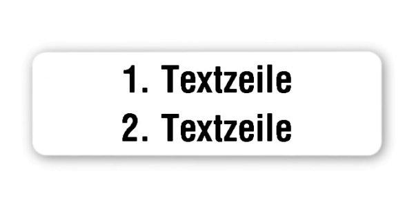 """Produktbild:Universaletiketten Material:Folie weiß Größe:50x15mm Kopfzeile:""""Ihr Wunschtext"""" Barcode:ohne Stellenanzahl:ohne Ausführung:1 Etikett pro Nummer Etiketten je Rolle:1000"""
