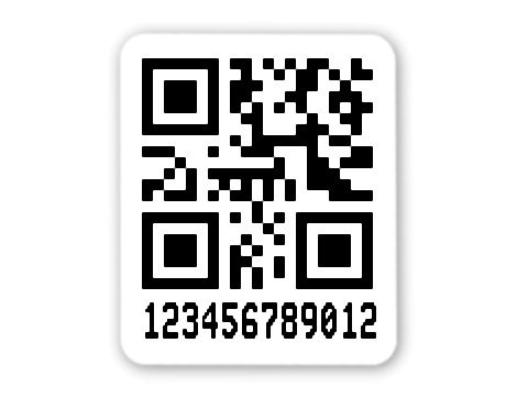 """Universaletiketten Material:Polyethylen-Folie hochglänzend weiß Größe:26x22mm Kopfzeile:""""ohne"""" Barcode:QR Stellenanzahl:12-stellig Ausführung:1 Etikette pro Nummer Menge:1000"""