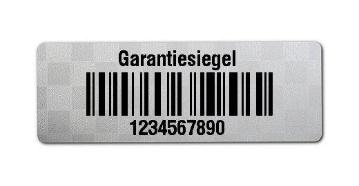 """Siegeletiketten Material:Polyester-Folie Silberoptik Siegeletikette Größe:36x13mm Kopfzeile:""""Garantiesiegel"""" Barcode:128C Stellenanzahl:10-stellig Menge:1000"""