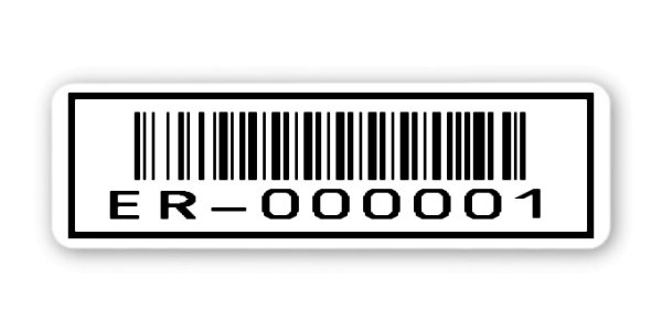 """Sonderetiketten Material:ThermoTop Größe:50x15mm Kopfzeile:""""ohne"""" Barcode:128B Stellenanzahl:9-stellig Ausführung:1 Etikette pro Nummer Menge:1000"""