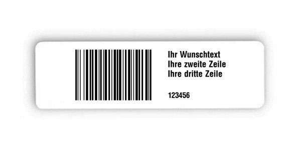 """Universaletiketten Material:Polyethylen-Folie hochglänzend weiß Größe:150x50mm Kopfzeile:""""Ihr Wunschtext"""" Barcode:128B Stellenanzahl:6-stellig Ausführung:1 Etikette pro Nummer Menge:1000"""