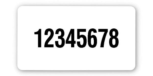 """Universaletiketten Material:Polyethylen-Folie hochglänzend weiß Größe:45x25mm Kopfzeile:""""ohne"""" Barcode:ohne Stellenanzahl:8-stellig Ausführung:1 Etikette pro Nummer Menge:1000"""