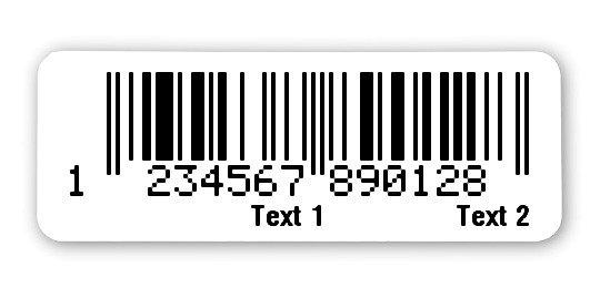 """Sonderetiketten Material:Polyethylen-Folie hochglänzend weiß Größe:40x15mm Kopfzeile:""""Ihr Wunschtext"""" Barcode:EAN 13 Stellenanzahl:13-stellig Ausführung:1 Etikette pro Nummer Menge:1000"""