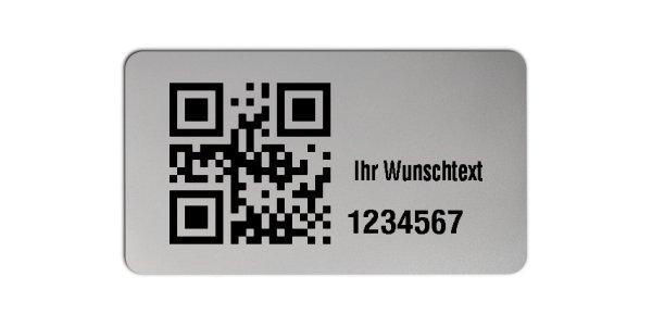 """Universaletiketten Material:Polyester-Folie Silberoptik matt Größe:45x25mm Kopfzeile:""""Ihr Wunschtext"""" Barcode:QR Stellenanzahl:7-stellig Ausführung:1 Etikette pro Nummer Menge:1000"""