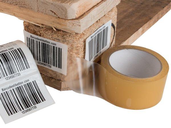 """Anwendung: Palettenetiketten Material:Polyethylen-Folie hochglänzend weiß Größe:80x50mm Kopfzeile:""""ohne"""" Barcode:128C Stellenanzahl:4-stellig Ausführung:2 Etiketten pro Nummer Menge:300"""
