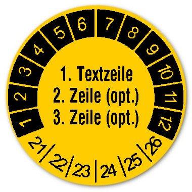 """Datum Prüfetikett Material:Polyethylen-Folie Gelb Größe:Ø 30mm Kopfzeile:""""Ihr Wunschtext"""" Schriftart:Classic Stellenanzahl:ohne Menge:1000"""