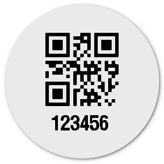 """Produktbild:Universaletiketten Material:Folie weiß Größe:Ø 20mm Kopfzeile:""""ohne"""" Barcode:QR Stellenanzahl:6-stellig Ausführung:1 Etikett pro Nummer Etiketten je Rolle:900"""