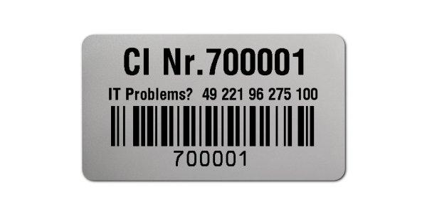 """Sonderetiketten Material:Polyester-Folie Silberoptik matt Größe:45x25mm Kopfzeile:""""Ihr Wunschtext"""" Barcode:128B Stellenanzahl:6-stellig Ausführung:1 Etikette pro Nummer Menge:1000"""