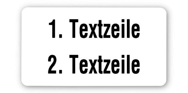 """Produktbild:Universaletiketten Material:Folie weiß Größe:45x25mm Kopfzeile:""""Ihr Wunschtext"""" Barcode:ohne Stellenanzahl:ohne Ausführung:1 Etikett pro Nummer Etiketten je Rolle:1000"""