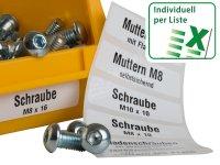 Anwendung: Lagerboxen Etiketten Material:Polyethylen-Folie hochglänzend weiß Größe:50x15mm Vorgabeliste:Mit Vorgabeliste Schriftart:Classic...