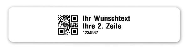 """Universaletiketten Material:Polyethylen-Folie weiß matt opak Größe:77x16mm Kopfzeile:""""Ihr Wunschtext"""" Barcode:QR Stellenanzahl:7-stellig Ausführung:1 Etikette pro Nummer Menge:1000"""