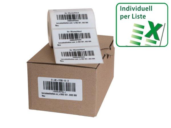 Anwendung: FNSKU Etiketten Material:Polyethylen-Folie hochglänzend weiß Größe:68x34mm Vorgabeliste:Mit Vorgabeliste Barcode:128B Stellenanzahl:10-stellig Menge:500