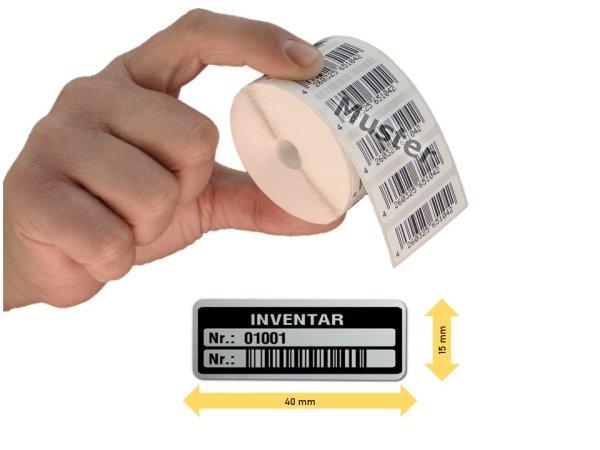 Inventaretiketten, 40x15mm, silber, Nummernkreis 01001-02000, 1.000 Stück