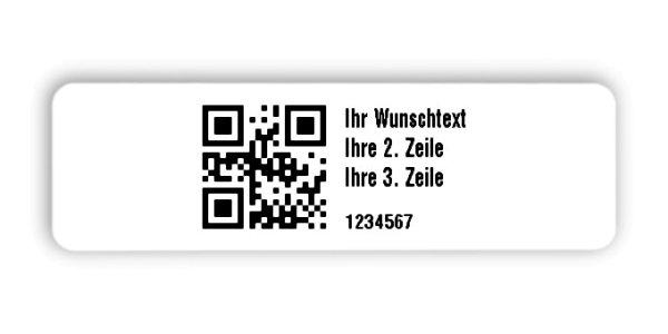 """Universaletiketten Material:Folie hochglänzend weiß Größe:50x15mm Kopfzeile:""""Ihr Wunschtext"""" Barcode:QR Stellenanzahl:7-stellig Ausführung:2 Etiketten pro Nummer Menge:1000"""