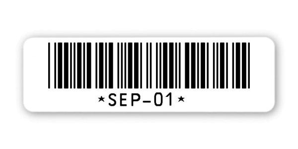 """Sonderetiketten Material:ThermoTop Größe:50x15mm Kopfzeile:""""ohne"""" Barcode:Code 39 ohne Prüfziffer Stellenanzahl:8-stellig Ausführung:1 Etikette pro Nummer Menge:1000"""