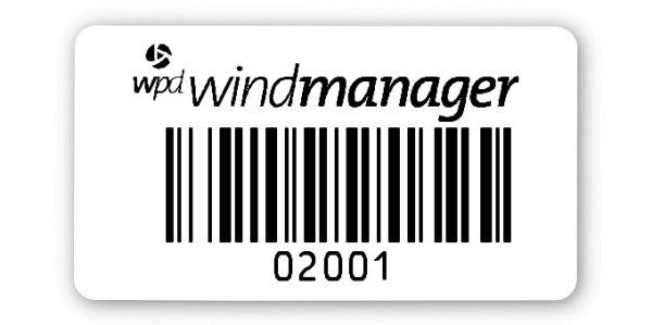 Sonderetiketten Material:Polyethylen-Folie hochglänzend weiß Größe:45x25mm Logo:Mit Logo Barcode:128B Stellenanzahl:5-stellig Ausführung:1 Etikette pro Nummer Menge:1000