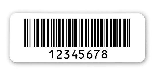 """Sonderetiketten Material:Polyethylen-Folie hochglänzend weiß Größe:40x15mm Kopfzeile:""""ohne"""" Barcode:128B Stellenanzahl:8-stellig Ausführung:1 Etikette pro Nummer Menge:1000"""