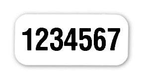 """Steckdosen Etiketten Material:Folie weiß Größe:18x8mm Kopfzeile:""""ohne"""" Barcode:ohne Stellenanzahl:7-stellig Ausführung:1 Etikett pro Nummer Etiketten je Rolle:1000"""