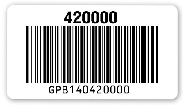 Sonderetiketten Material:Polyethylen-Folie hochglänzend weiß Größe:54x30mm Barcode:128B Stellenanzahl:12-stellig Ausführung:1 Etikette pro Nummer Menge:1000