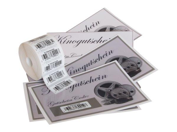 """Anwendung: EAN Gutschein Etiketten Material:Polyethylen-Folie hochglänzend weiß Größe:31x9mm Kopfzeile:""""ohne"""" Barcode:EAN 13 Stellenanzahl:13-stellig Menge:500"""