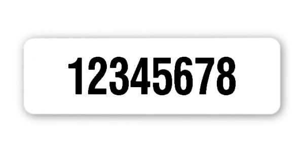 """Universaletiketten Material:Polyethylen-Folie hochglänzend weiß Größe:50x15mm Kopfzeile:""""ohne"""" Barcode:ohne Stellenanzahl:8-stellig Ausführung:1 Etikette pro Nummer Menge:1000"""