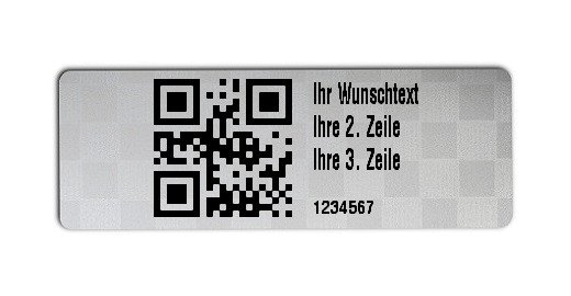"""Universaletiketten Material:Siegeletikett Größe:36x13mm Kopfzeile:""""Ihr Wunschtext"""" Barcode:QR Stellenanzahl:7-stellig Ausführung:3 Etiketten pro Nummer Etiketten je Rolle:300"""