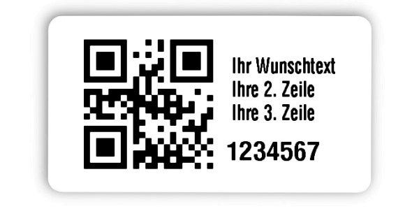 """Universaletiketten Material:Folie hochglänzend weiß Größe:45x25mm Kopfzeile:""""Ihr Wunschtext"""" Barcode:QR Stellenanzahl:7-stellig Ausführung:4 Etiketten pro Nummer Menge:1000"""