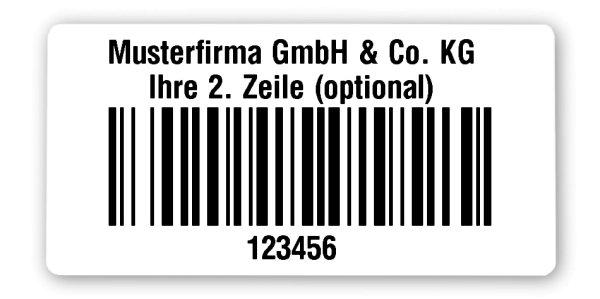 """Universaletiketten Material:Polyethylen-Folie hochglänzend weiß Größe:68x34mm Kopfzeile:""""Ihr Wunschtext"""" Barcode:128B Stellenanzahl:6-stellig Ausführung:1 Etikette pro Nummer Menge:1000"""